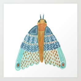 Watercolor Teal Moth/ Day 27/ Butterfly Art Art Print