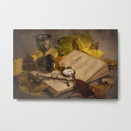 Memories in Autumn - old book glasses and watch still life Metal Print