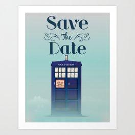 Save the Date British Police Box Art Print