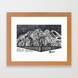 """High Peaks"" Hand-Drawn Adirondacks by Dark Mountain Arts Framed Art Print"