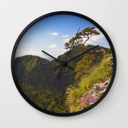 Pine tree at the Dunajec Canyon on the Polish border Wall Clock