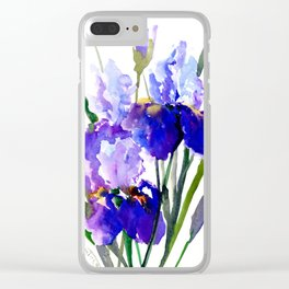 Garden Irises, Blue Purple Floral Design Clear iPhone Case