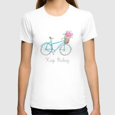 Keep Riding Bike, Watercolor Bike MEDIUM White Womens Fitted Tee