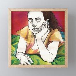 Girl on Red Framed Mini Art Print
