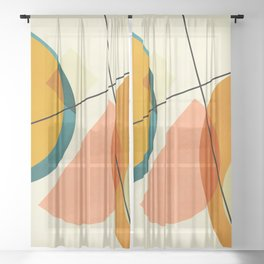 mid century geometric shapes painted abstract III Sheer Curtain