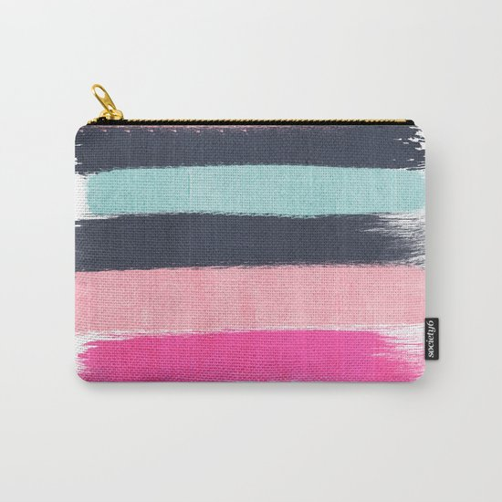 Miri - abstract stripes painterly brushstrokes minimal office dorm or college girly art decor Carry-All Pouch