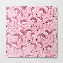 Pink Flamingos Print Metal Print