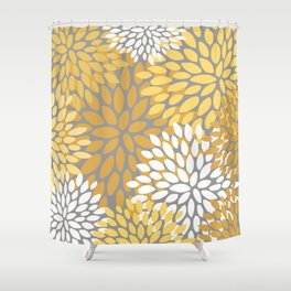 Floral Pattern, Yellow, Pale Yellow and Gray Shower Curtain