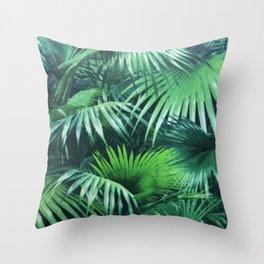 Tropical Botanic Jungle Garden Palm Leaf Green Throw Pillow