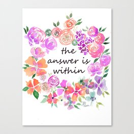 The Answer is Within Purple Orange Floral Wreath Canvas Print