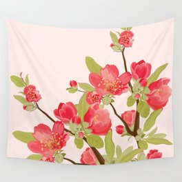 Pink Tree Blossoms Wall Tapestry