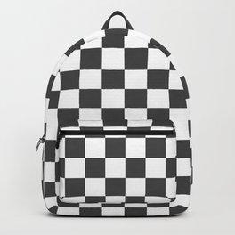 Gingham Dark Slate Grey Checked Pattern Backpack