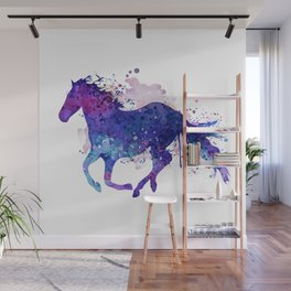Running Horse Watercolor Silhouette Wall Mural