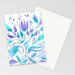 Dreamy Purple Teal Florals Stationery Cards