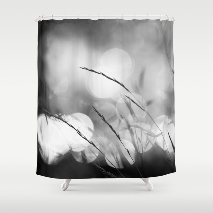 Blade of Grass - Bokeh Background - Black and White #decor #society6 #buyart Shower Curtain