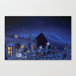 the night on the roofs of Paris Canvas Print