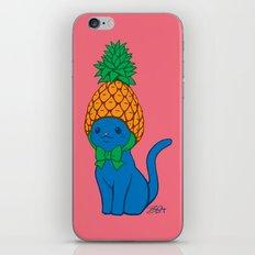 Blue Cat Wears Pineapple Hat iPhone & iPod Skin