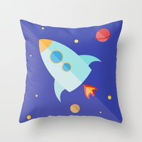 spaceship Throw Pillows featuring Spaceship by Marta Perego