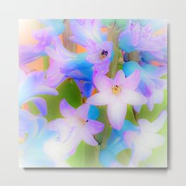 Bouquet in Blue and Pink 3 - enhanced and in blue white and green actually Metal Print