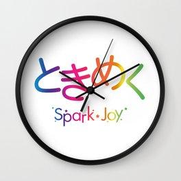 Tokimeku (Spark of Joy) - Rainbow Typography version Wall Clock