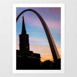 Colorful Silhouettes of Saint Louis Art Print