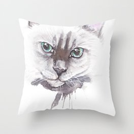 Cat Ragdoll Watercolor painting Throw Pillow