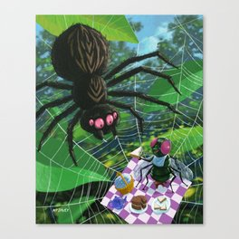 fly having picnic in spider web with big spider Canvas Print