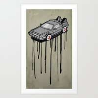 delorean Art Prints featuring Delorean Drip by Vin Zzep