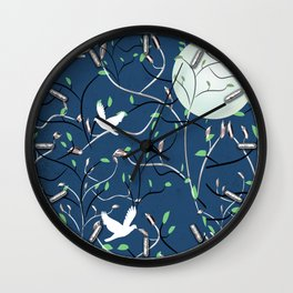 Art Nouveau Moon with Doves (Blue and Silver) Wall Clock