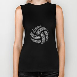 White Volleyball Wordcloud - Gift Biker Tank