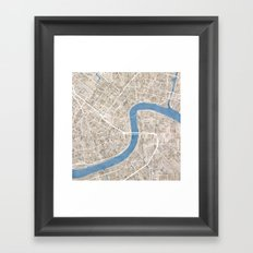 New Orleans Cobblestone Watercolor Map Framed Art Print