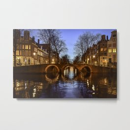 Amsterdam Night Canal Landscape Metal Print
