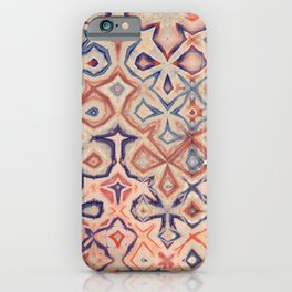 Abstract Irregular Pattern in Beige, Red and Blue iPhone Case