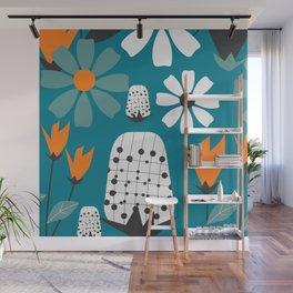 Joyful florescence in blue Wall Mural