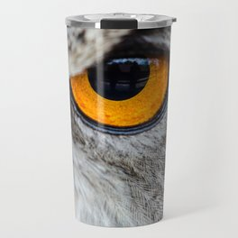 NIGHT OWL - EYE - CLOSE UP PHOTOGRAPHY - ANIMALS - NATURE Travel Mug