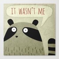 raccoon Canvas Prints featuring Raccoon by Fuzzorama