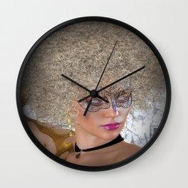 Afro Blonde Beautiful Masked Face Wall Clock