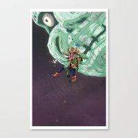 majoras mask Canvas Prints featuring Skull Kid Majoras Mask by Aaron Pittman