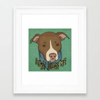pit bull Framed Art Prints featuring Pit bull Pride by Sara Robish Andrews