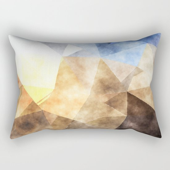On the fields- Abstract watercolor triangle pattern Rectangular Pillow