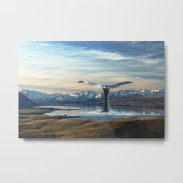 Big Fish In A Little Pond-Whale in New Zealand Lake Metal Print