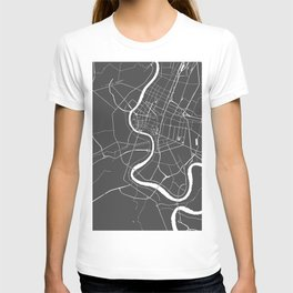 Bangkok Thailand Minimal Street Map - Gray and White II T-shirt