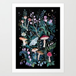 Night Mushrooms Art Print