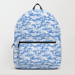 Military Camouflage Pattern - Blue White Backpack
