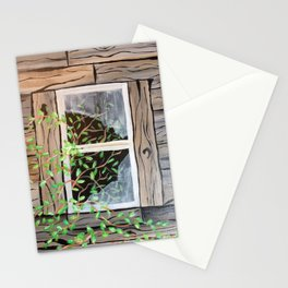Old cabin window Stationery Cards