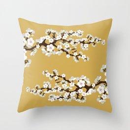 Japanese Sakura Cherry Blossoms (gold) Throw Pillow