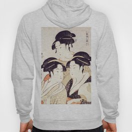 Three Beauties of the Present Day - Japanese Woodblock Print Hoody