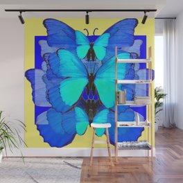 DECORATIVE BLUE SATIN BUTTERFLIES YELLOW PATTERN ART Wall Mural