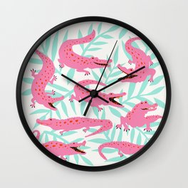 Alligator Collection – Pink & Turquoise Palette Wall Clock