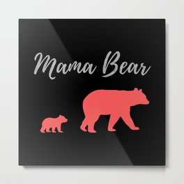 Mama Bear - Black Silver Coral Metal Print